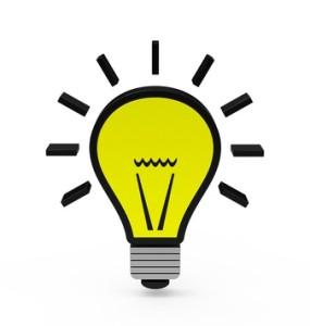 Glühbirne als Idee-Symbol